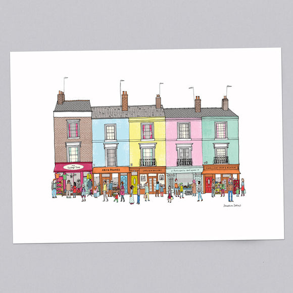 Portobello Road Row of Shops A3 Illustration Print