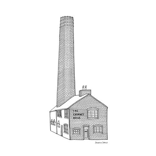 Chimney House Sheffield Square Print 21cm