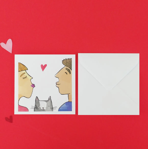 Square Kissing Cat Card