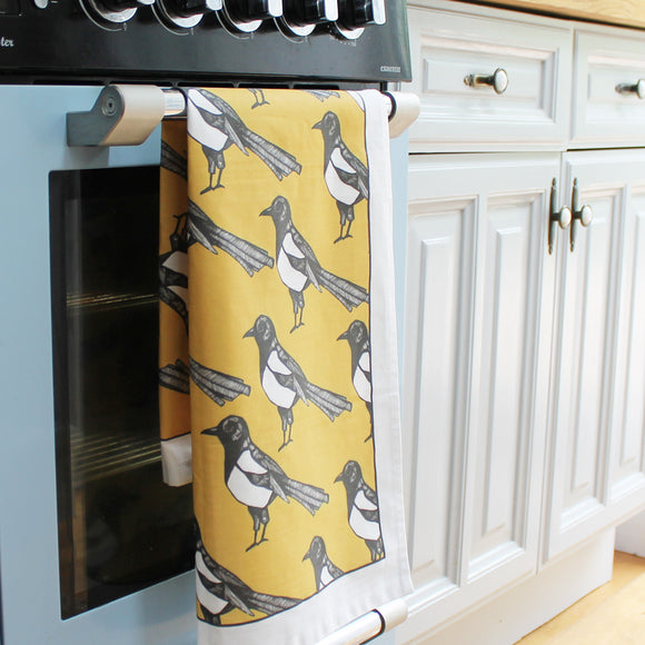 Yellow Magpie Tea Towel
