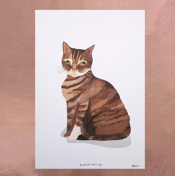 A4 Brown Cat Digital Print