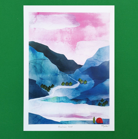 A4 Pink and Blue Mountains Digital Print