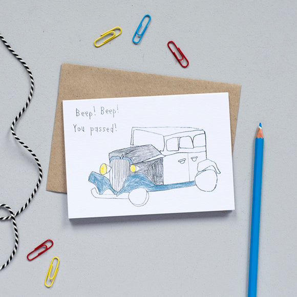 'Beep, Beep! You Passed!' Greetings Card