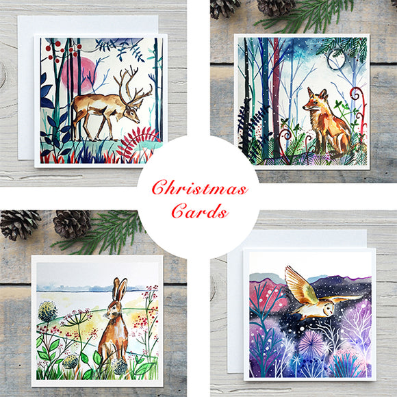 Winter Animal Christmas Card Pack of 8