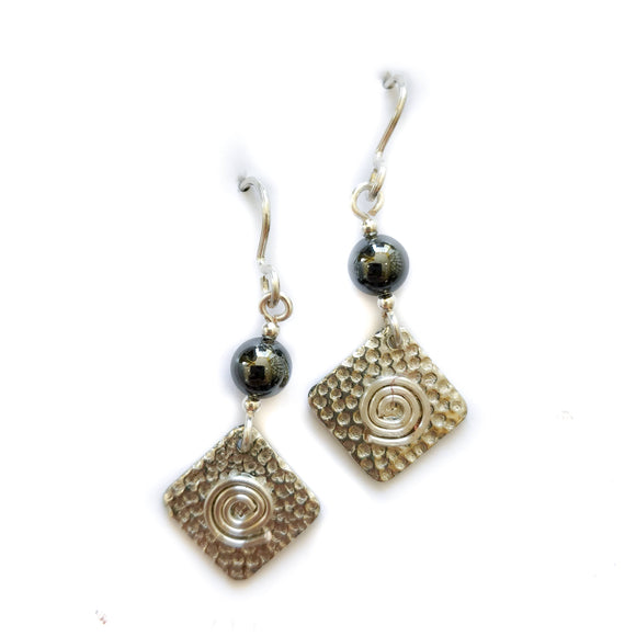 Pewter drop earrings.