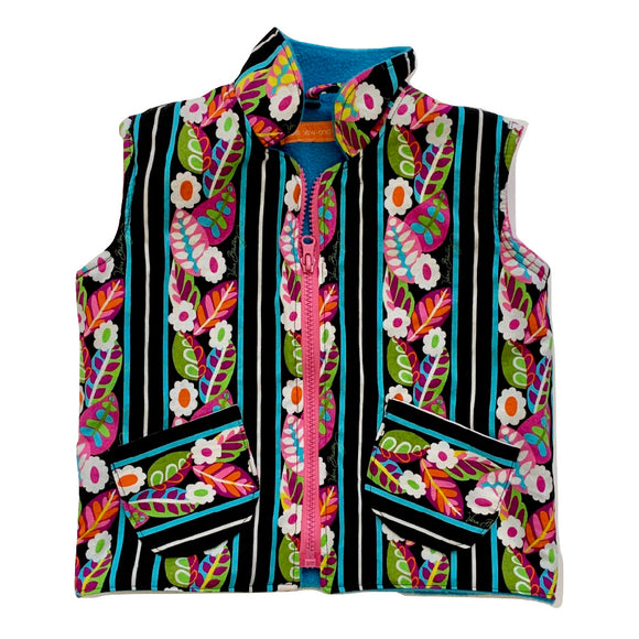 Age 2 Gilet - Bright Flowers on Black