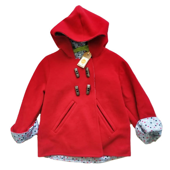 Age 4 Kids Red Duffle Coat