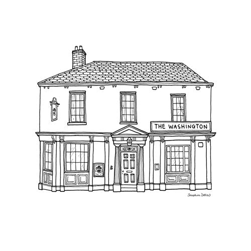 The Washington Pub Sheffield Square Print 21cm
