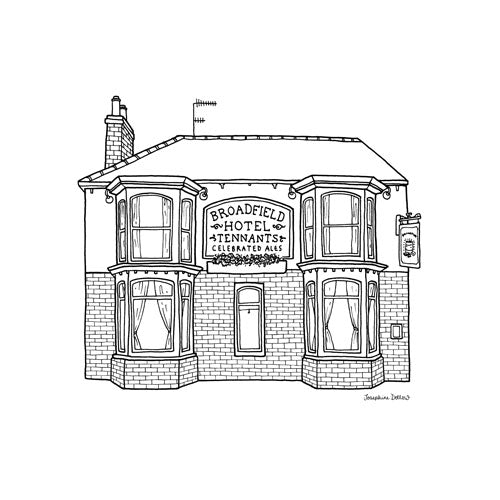 The Broadfield Pub Sheffield Square Print 21cm