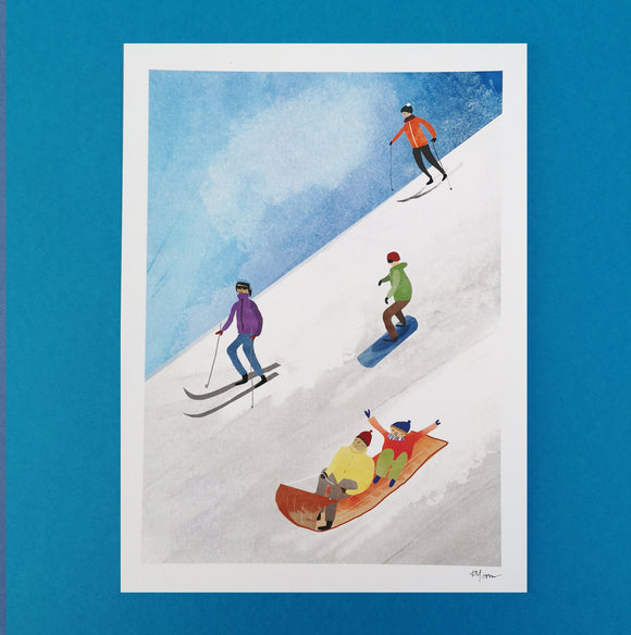 A4 Skiing and Snowboarding Digital Print