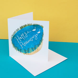 Happy Anniversary Swan Card