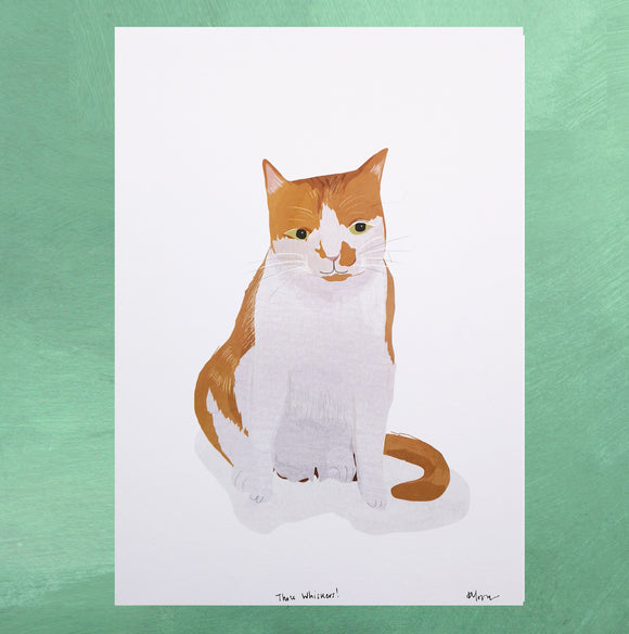 A4 Ginger and White Cat Digital Print