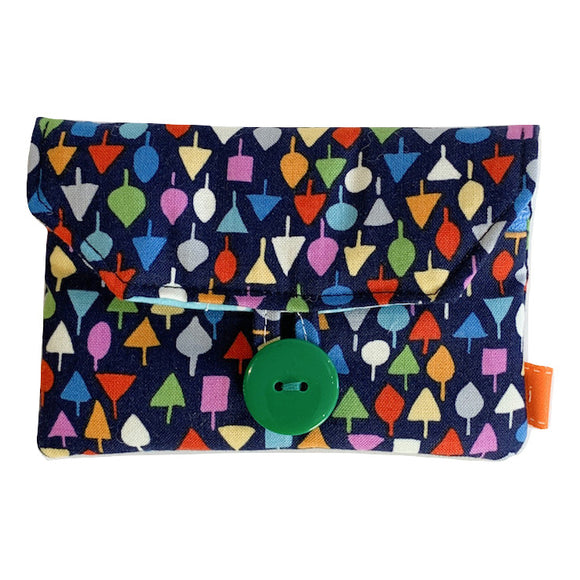 Fabric Purse with Zip Pocket - Multicoloured Tiny Trees