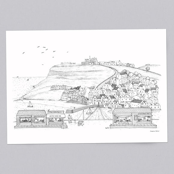 Whitby Coastal Scene A3 Illustration Line Drawing Print