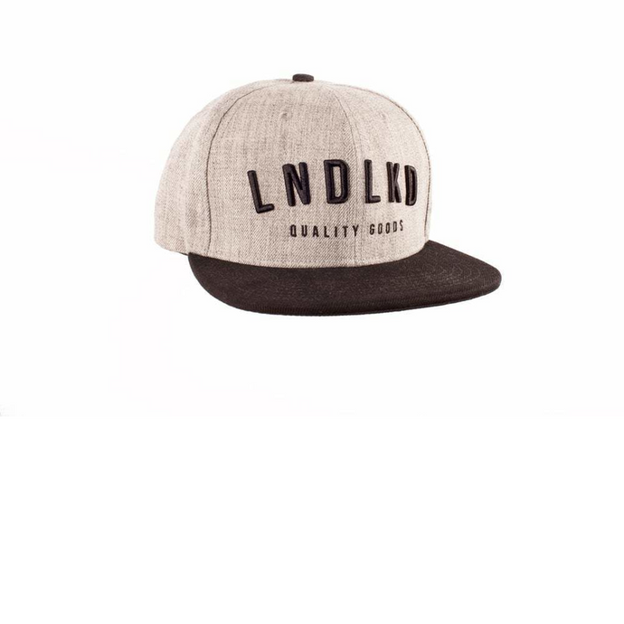 Front design of LNDLKD Snapback - Heather Grey/ Black - Imprint Merch - E-commerce