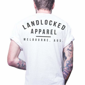Front design of Landlocked Tall Tee - White - Imprint Merch - E-commerce