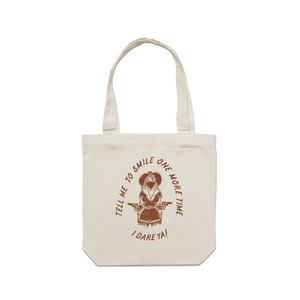 Front design of Tell Me To Smile Tote Bag - Imprint Merch - E-commerce
