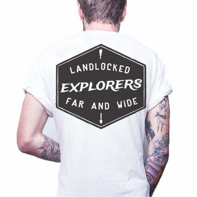 Front design of Explorer Tee - White - Imprint Merch - E-commerce