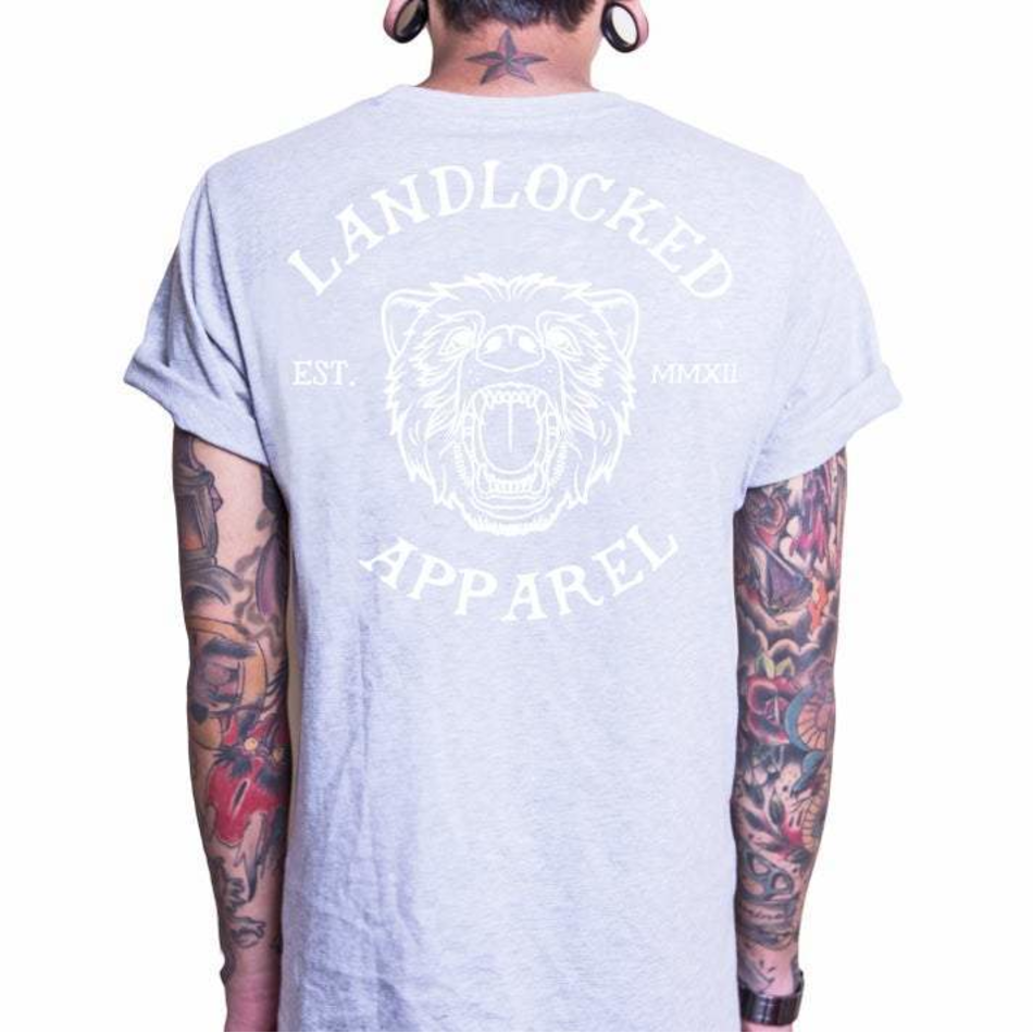 Front design of Bear Tee - Heather Grey - Imprint Merch - E-commerce