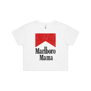 Front design of Marlboro Mama Crop Tee - Landlocked Apparel - Imprint Merch - E-commerce