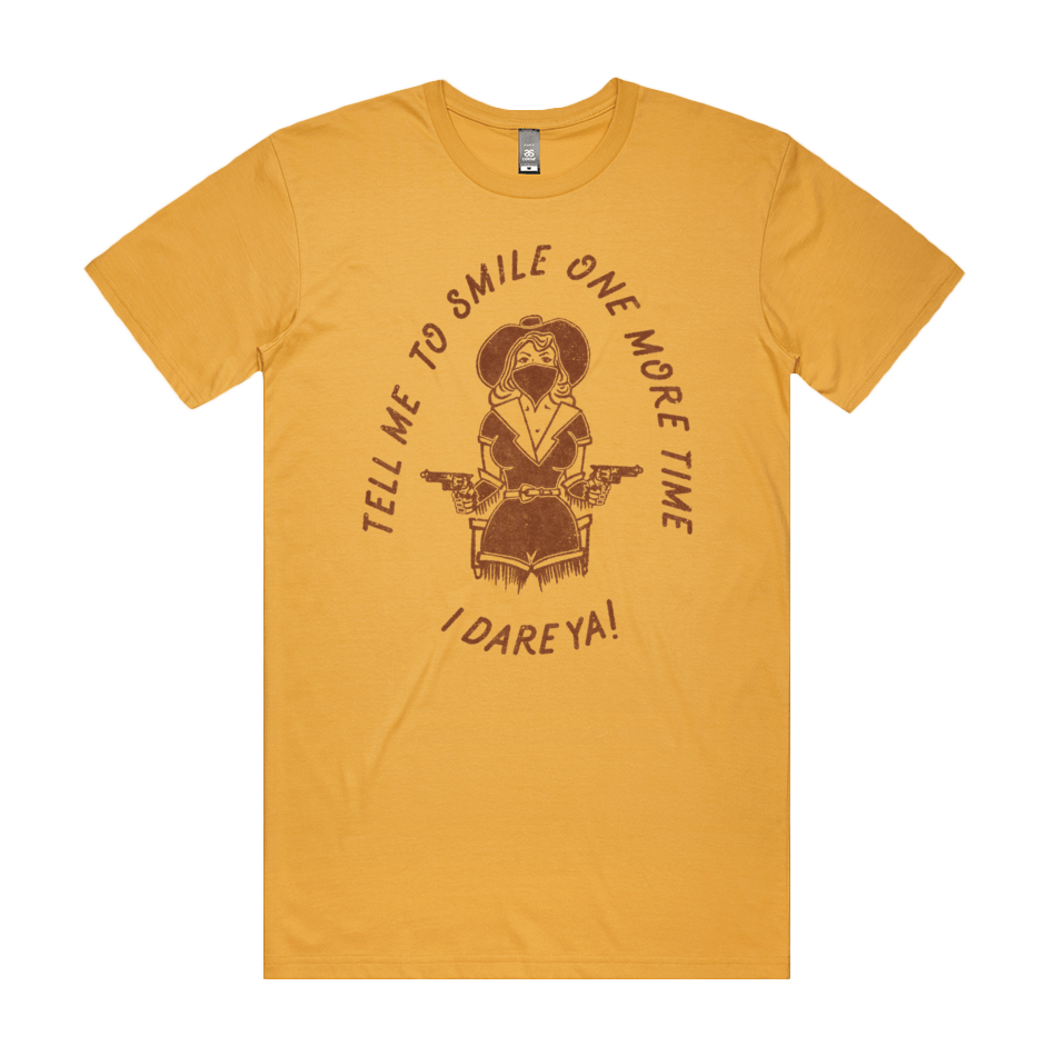 Front design of Tell Me To Smile Tee - Mustard - Imprint Merch - E-commerce
