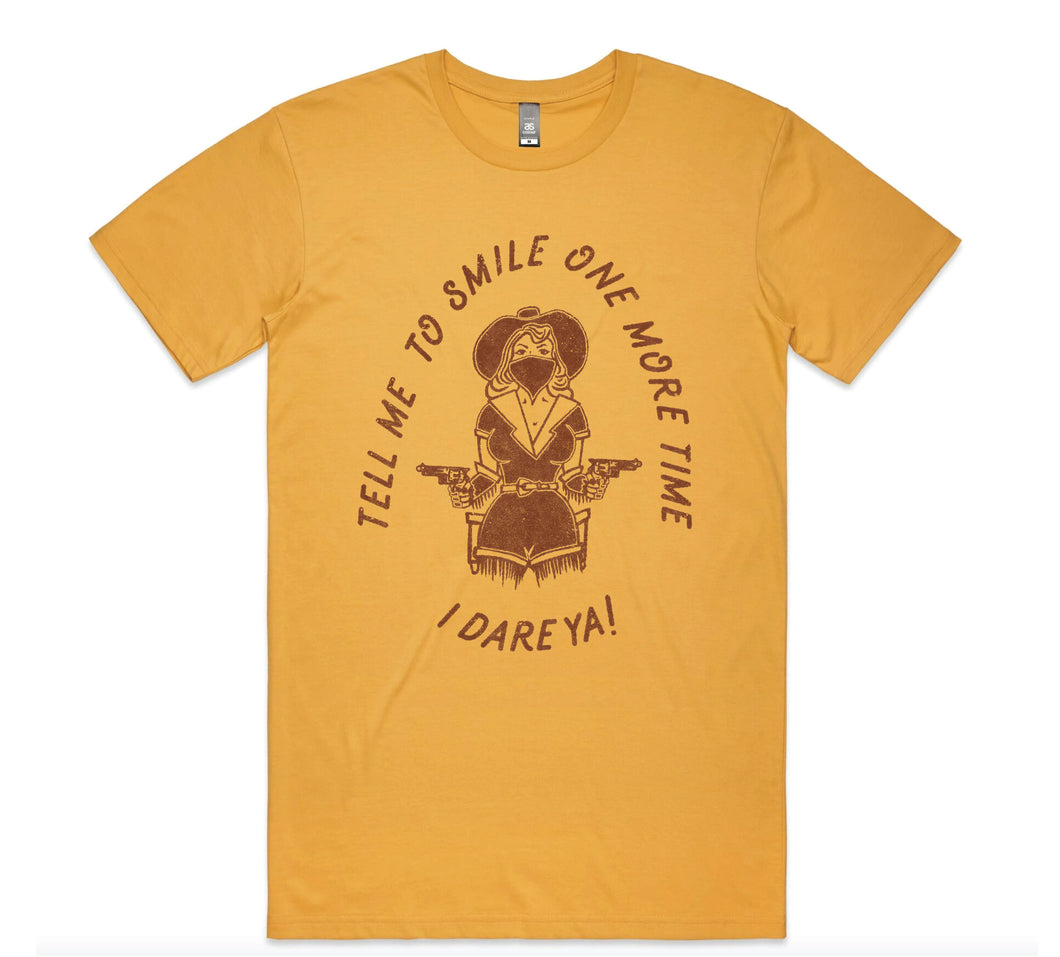 Tell Me To Smile Tee - Mustard