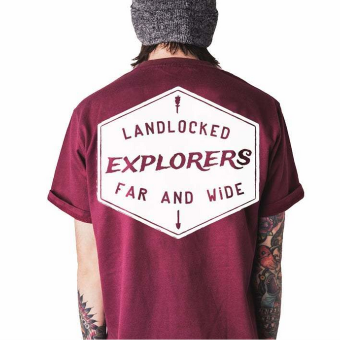 Front design of Explorer Tee - Burgundy - Imprint Merch - E-commerce