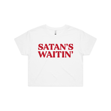 Load image into Gallery viewer, Front design of Satan's Waitin' Crop Tee - Landlocked Apparel - Imprint Merch - E-commerce