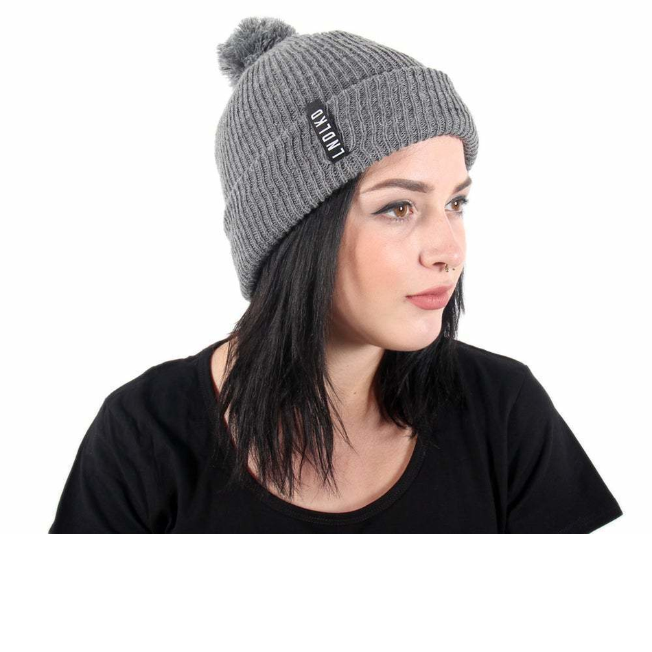 Front design of Grey Pom Pom Beanie - Imprint Merch - E-commerce