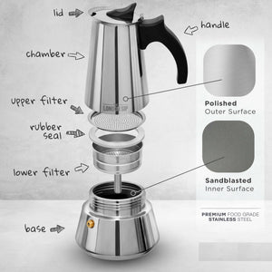 Induction Stovetop Espresso Maker - by The London Sip Company
