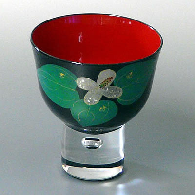 japanese aizu lacquer glass sake cup
