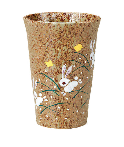 japan kutani moon rabbit beer cup