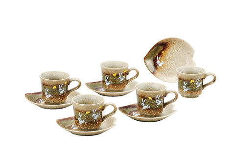 japan kutani moon rabbit coffee set