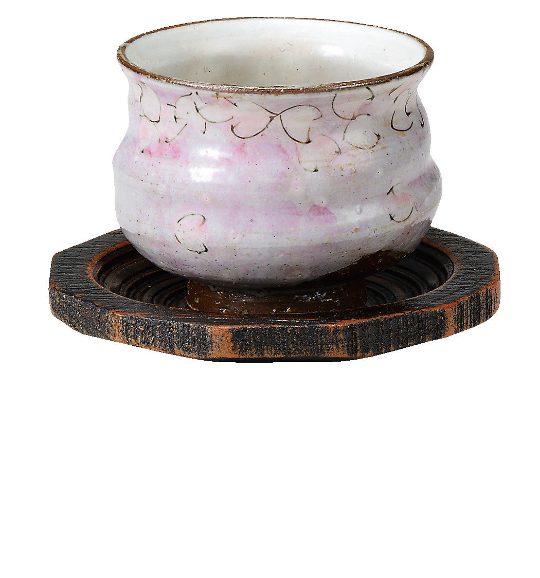 japanese tea cup with tray pink flower