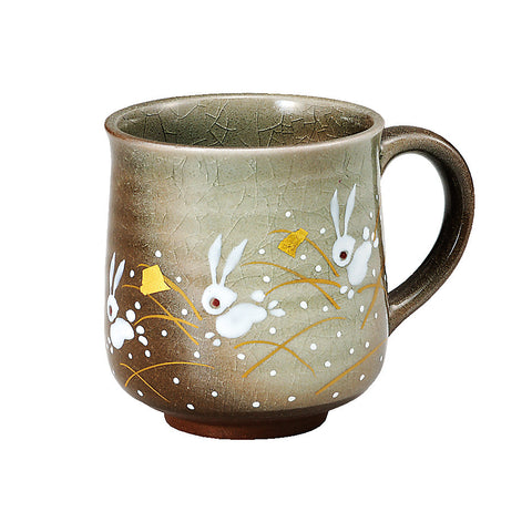 kutani ware moon rabbit mug