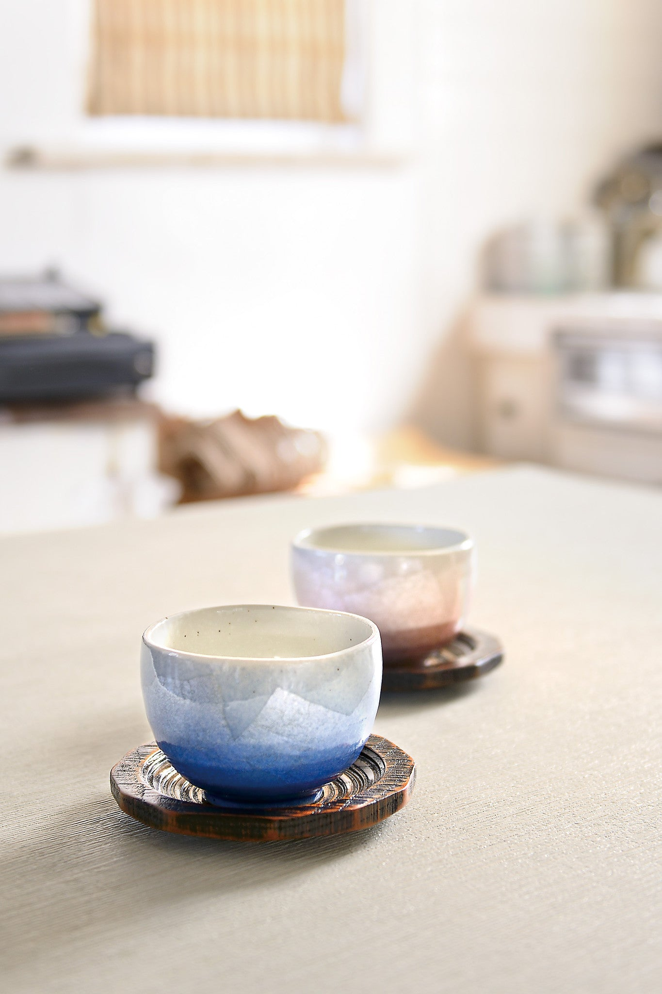 japanese pair tea cups sets with tray