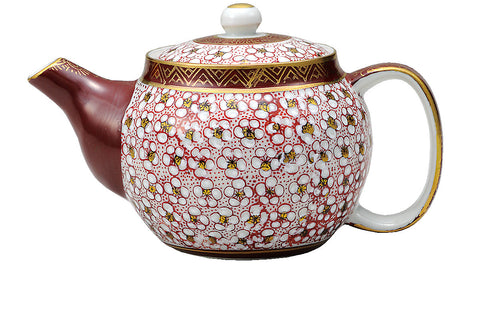 japanese tea pot red plum