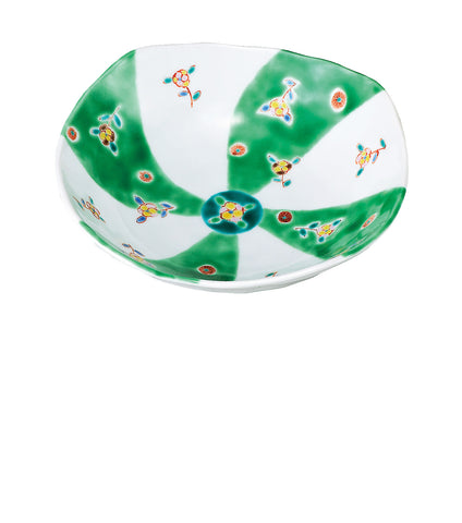 japanese kutani porcelain bowl green