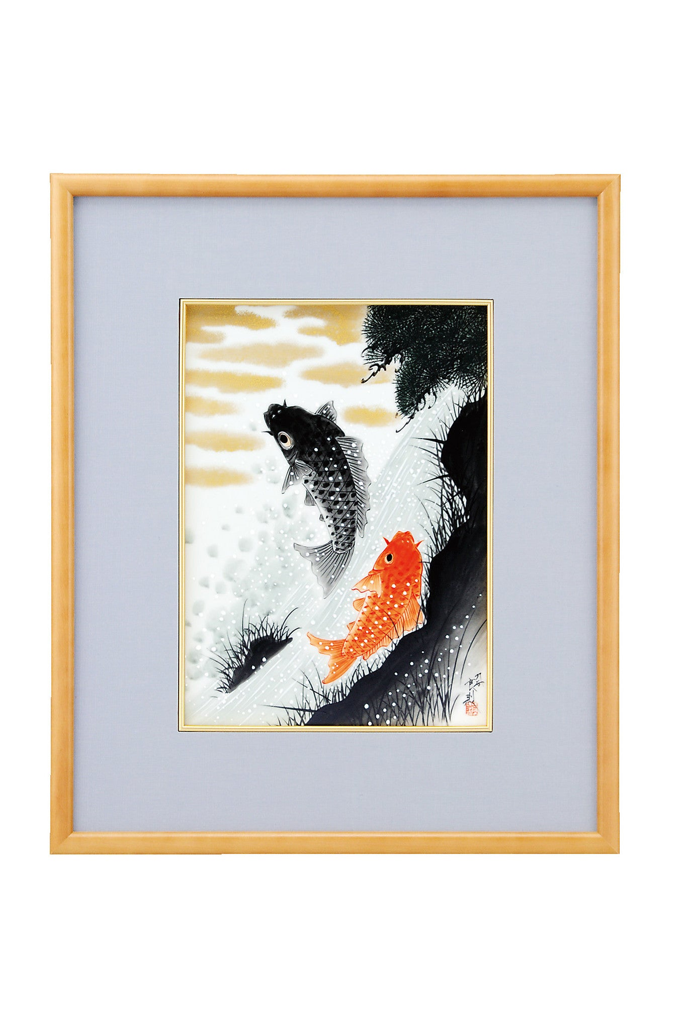 japanese koi fish porcelain wall art