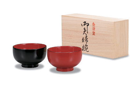 aizu lacquer ware Japanese miso soup bowl