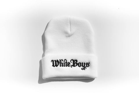 Roll White Boys White Beanie