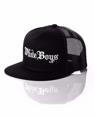 White Boys Black Trucker Hat