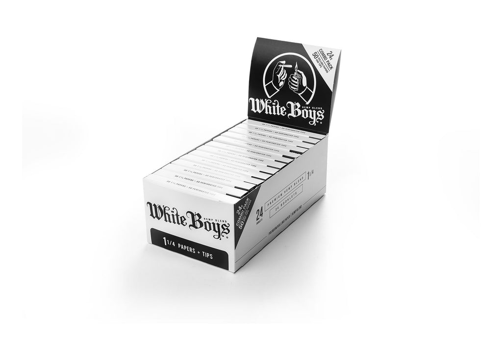 "Roll White Boys Premium Rolling Papers 1 1/4""  Box of 24 Booklets + Filter Tips"