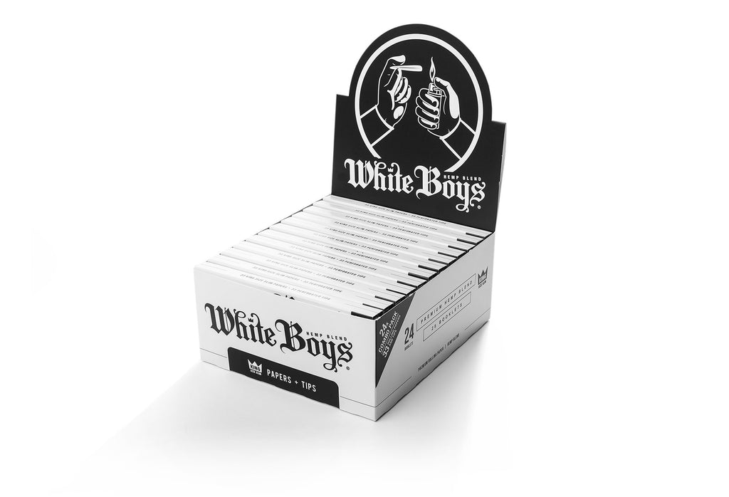 Roll White Boys Premium Rolling Papers King Size Slim box of 24 Booklets with Perforated Filter Tips