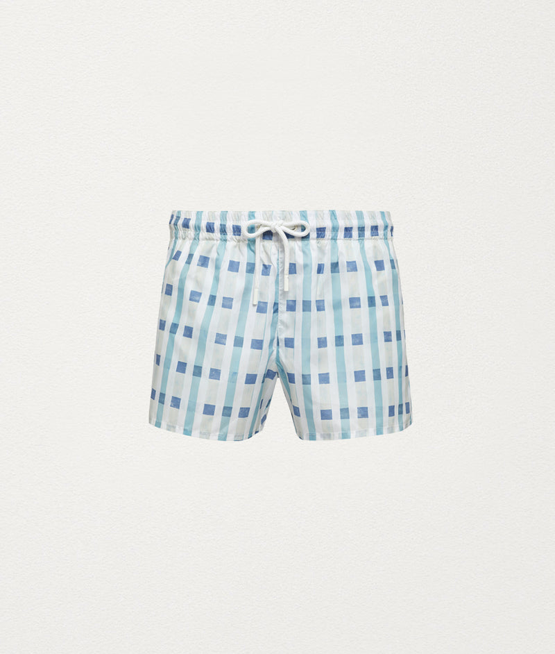 ART DECO CHECK SWIM SHORT - COMMAS