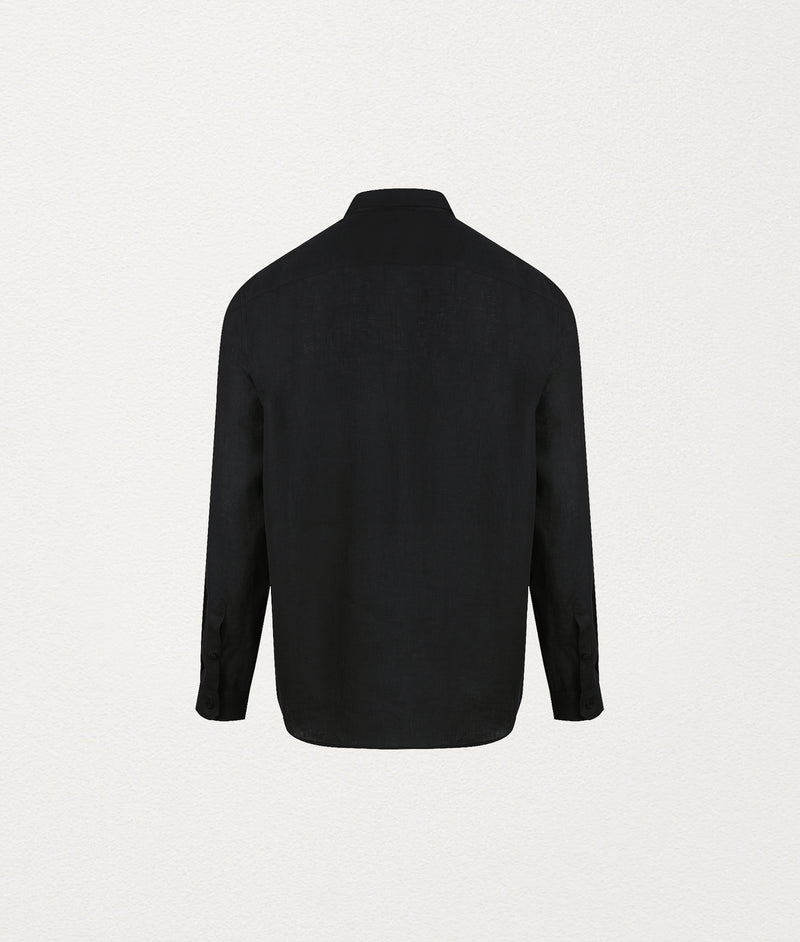 BLACK LS LINEN SHIRT - COMMAS