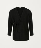 BLACK TEXTURED ROBE - COMMAS