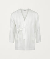 WHITE ITALIAN LINEN ROBE - COMMAS