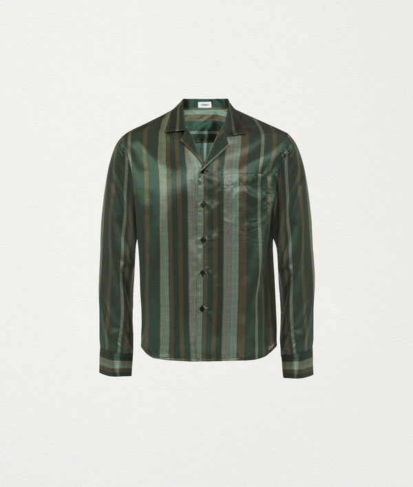 Woodblock olive Silk Camp Collar Shirt - COMMAS