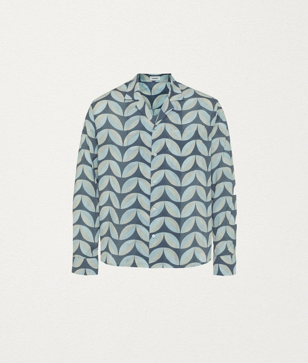 Pavilion Tile Slate Camp Collar Cotton Shirt - COMMAS